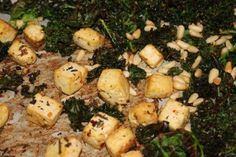 Spicy Lemon & Herb Roasted Tofu with Kale and Pine Nuts