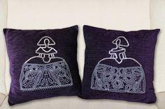 Cojines decorados con Meninas de encaje. #meninas #cojines encaje #meninas de bolillos #meninas de encaje