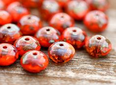 Picasso Czech glass beads autumn red coral orange by MayaHoney, $2.15
