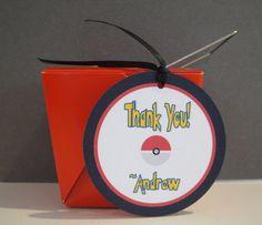 "Pokemon Thank You Tags, Pokemon, Personalized Thank You Tags, 2.5"" Round"
