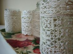 lace covered mason jar