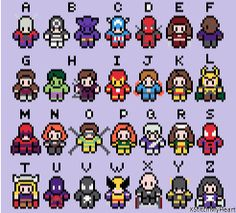Marvel Alphabet Cross Stitch Pattern by XStitchMyHeart - I like the little Loki in this one :)