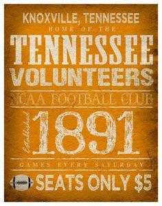Tennessee Volunteers Poster -  11x14 - Tennessee Football Print. $22.00, via Etsy.