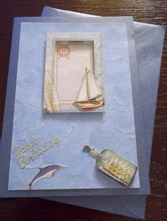 Handmade Birthday Card gift idea by Rebecca found on MyOwnCreation: This is a C6 blue boat birthday card. this card has had 3D pads used on so that it has a 3D effect to the card. this card comes with a matching envelope. P and P is included with the price of the card. I only post within the U.K.