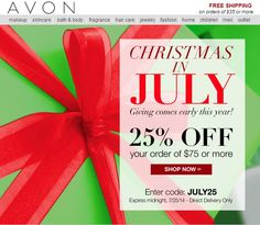 Last chance: today is the last day to shop campaign 16 online and save 25% on your online order of $75 or more! Avon Coupon Code: JULY25 http://www.makeupmarketingonline.com/save-25-last-chance-shop-avon-campaign-16-online/ #avon #christmasinjuly #coupon