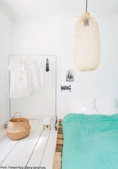 Stonewashed linen duvet cover in mint from www.bodieandfou.com