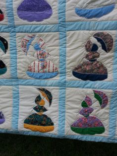 359.95  Quilt Sunbonnet Sue Pattern Handmade Machine Stitched King Size Bedding Heirloom