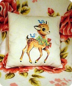 vintage deer on cushion