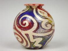 Isle of Wight Studio Glass 'Jazzy' globe vase designed by Timothy Harris