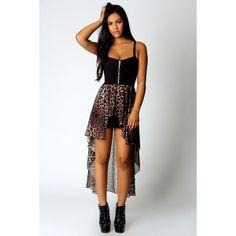 Sophia Leopard Skirt Mixi Dress ($50) ❤ liked on Polyvore