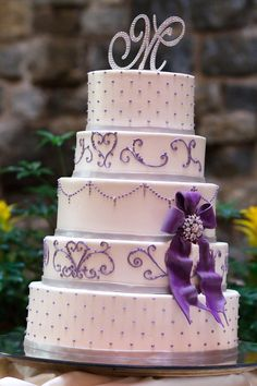 traditional purple wedding cake