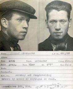 mugshot: Alexander Murray, born 1906, died in the London Blitz, 1940