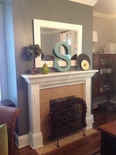 Fireplace mantle decorations #DIY painted letter