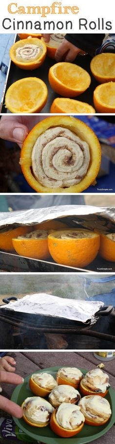 """Previous pinner wrote, """"Campfire Cinnamon Rolls   Orange flavored cinnamon rolls baked over a campfire in hollowed out oranges!"""""""