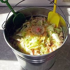 """Bucket Salad Allrecipes.com-""""This is a festive taco style salad that I have made at every family gathering, due to all the requests I get for it. Serve it as a side, or as a meal."""""""