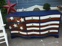 From the Shabby Attic! She works magic on furniture. ...  StArS N StRiPeS MaHogAnY ChEsT by theshabbyattic on Etsy