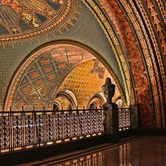 Fisher Building, Detroit, Michigan - On the National Register of Historic Places  designated a U.S. National Historic Landmark.  Designed by architect Joseph Nathaniel French of Albert Kahn Associates in the ornate Art Deco style  completed in 1928. interior, architects, balconies, arches, buildings, build detroit, place, art deco, fisher build
