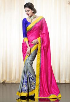Fuchsia Faux Crepe Jacquard and Shimmer Faux #ChiffonSaree with Blouse @ $124.01