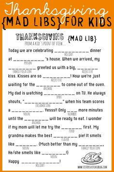 Thanksgiving Mad Libs for Kids! Printable