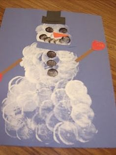 Have fun using marshmallows to stamp the snowman - Repinned by Lessonpix