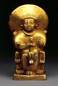 Seated goddess with a child, Hittite Empire, Old Hittite; 15th–13th century BC, Anatolia, central region, gold