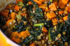 Spicy Lentils with Sweet Potatoes and Kale // #dinner #sidedish #vegetarian #healthy