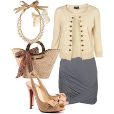 Little bit vintage, little but girly. Classy and trendy work outfit