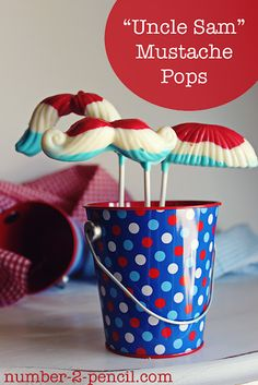 "Red, white and blue ""Uncle Sam"" mustache pops for the 4th of July."