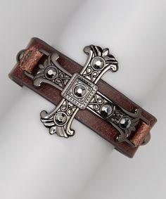 Brown Leather Hematite Cross Bracelet