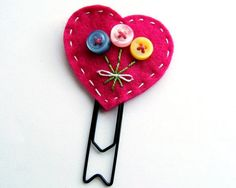 Button Heart Bouquet Paperclip Bookmark