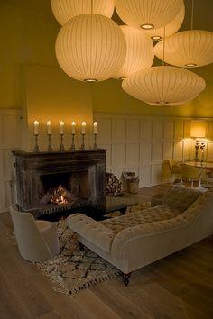 Nelson Bubble Lamps.. beautifully lit.