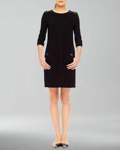 MICHAEL KORS Stretch Boucle Button Dress
