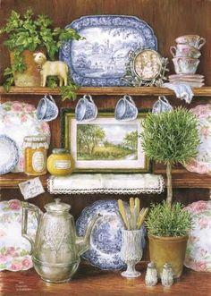 . cottag, vignett, blue, art, french country, kitchen, susan wheeler, sweet home, pond