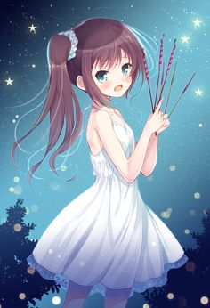 anime girl with sparklers