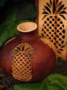 randi storm, gourd art, carv pineappl, pineappl gourd, paint pineappl