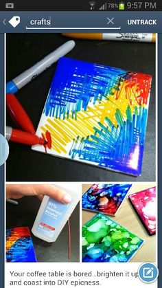 Sharpie coasters with rubbing alcohol