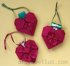 Origami heart ornaments