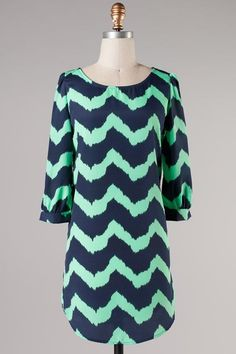 $48 - Mint/navy chevron shift dress