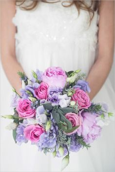 Pink and purple wedding bouquet. Floral Design: Fantasie Fiori --- Captured By: Margherita Calati --- http://www.weddingchicks.com/2014/06/12/start-your-wedding-day-off-in-the-sweetest-way-possible/