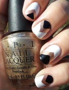 gold nails, spring nails, nail designs, nail arts, black white, black gold, white gold, art deco, chevron nails