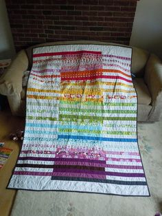 rainbow quilt with thin strips!