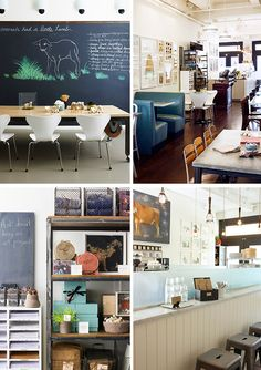 Moomah. Cafe and art space in New York. In love with the color palette and chalkboard wall.