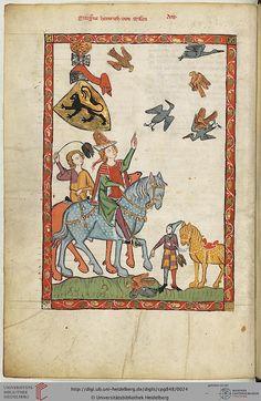 Codex Manesse, Markgraf Heinrich von Meißen, Fol 014v, c. 1304-1340