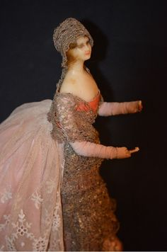Antique Doll French Fashion Wax Lafitte Desirat Original Clothings..