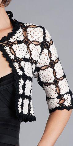 crochet sweatersopen, black and white crochet, crochet cardigan, crochet wearabl, crochet project, bolero, crochet top, diy crochet, crochet idea
