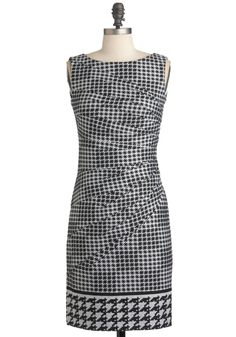 I Saw the Design Dress - Mid-length, Multi, Black, White, Houndstooth, Work, Sheath / Shift, Sleeveless, Fall, Exposed zipper, Scholastic/Collegiate