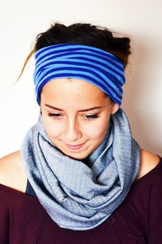 Yoga headband. Blue stripes. Light blue. by MapleAndOakDesigns, $20.00