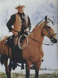 Ben Cartwright (Lorne Green) and horse Buck from the t.v. show Bonanza.
