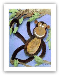 Monkey art Jungle nursery Canvas giclee by JackieGuttusoDesigns, $15.00