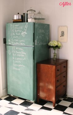 DIY Chalkboard Fridge. A unique way to cover an old fridge!